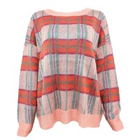 Vintage Check Casual Jumper with Dropped Shoulder Seams for Women