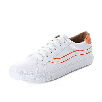 Hot Sale Color Blocking Design PU Upper Lace-up Sneakers Shoes