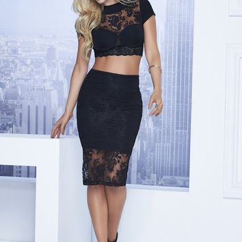 NYC Nights Black Lace Dress with Crop Top