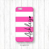 Personalized iPhone 6 case, 6+, 5, 5s, 5c, 4, 4s, Galaxy, s5, s4, s3, 3d, case, stripes, pink, hot pink, monogram, monogrammed, custom