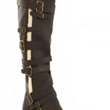 Chocolate Crinkle Faux Leather Shearling Strapped Mid Calf Boots @ Amiclubwear Boots Catalog:women's winter boots,leather thigh high boots,black platform knee high boots,over the knee boots,Go Go boots,cowgirl boots,gladiator boots,womens dress boots,skir
