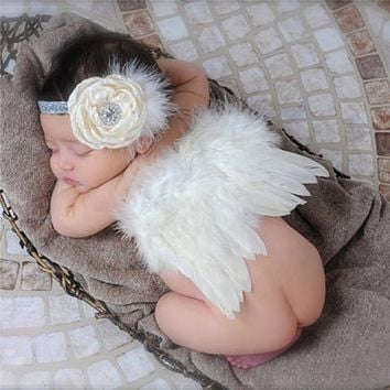 Cute Baby born Photography Props Infant Girls White Angel Feather Wings with Floral Headbands Toddler Costume Set Photo Props
