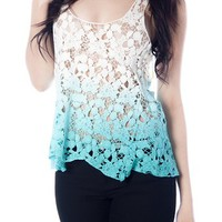 Two-Tone Crochet Lace Tank Top - Aqua from Casual & Day at Lucky 21 Lucky 21