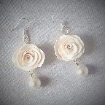 White Rose Earrings, Made To Order, Bridal Jewellery