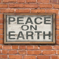 "Peace On Earth wooden Christmas sign with reclaimed wood frame.  Handmade. Approx. 19""x 12""x2""."