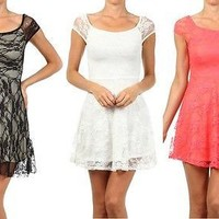 Sexy Short Sleeve Floral Textured Lace A-Line Shift Tunic Cocktail Mini Dress