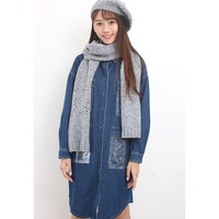 d/s by Drive Store™ Pointelle Knit Beret + Scarf Set