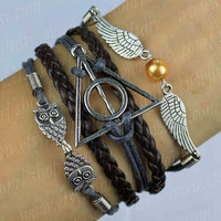Antique Silver Wing Bracelet Harry Potter Bracelet Owl Bracelet Steampunk Golden Snitch