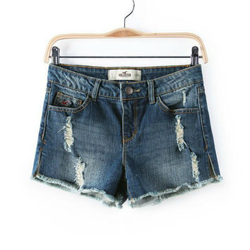 Rinsed Denim Denim Shorts [6034224833]