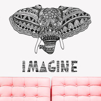 Wall Decal Vinyl Sticker Decals Art Decor Design Mural Ganesh Om Elephant Imagine Mandala Tribal Buddha Karma India Bedroom Dorm (r1046)