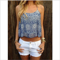 Printed summer backless vest strap - Blue