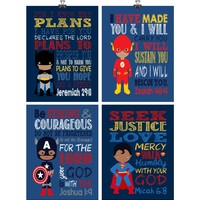 African American Christian Superhero Nursery Decor Art Print Set of 4 - Batman, Flash, Superman & Captain America