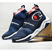Champion New fashion logo and letter print sports leisure couple socks shoes Navy Blue