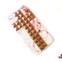 IPHONE 4 floral studded hard case cross design pyramid studs hipster trending accessories phone case