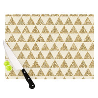 "Nika Martinez ""Glitter Triangles in Gold"" Tan Yellow Cutting Board"