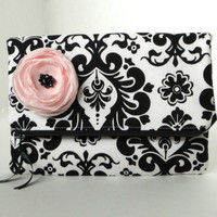 Damask clutch, bridesmaids purse, black and white wedding bag, pink fabric flower