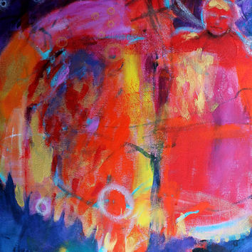 """Bold Acrylic Painting Colorful Abstract Figure 20x24 Canvas """"The Couple"""""""