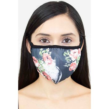 Black Rose Skull Print Face Mask