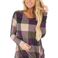 Plum Plaid Soft Long Sleeve Tee Shirt with Twist Detail