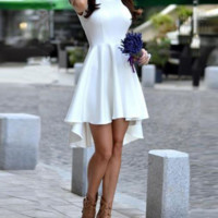 Fashion Autumn and winter new dress sexy round neck sleeveless white dress in the long skirt