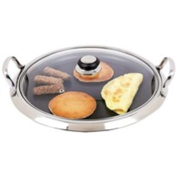 12-Element Stainless Steel Round Griddle Non Stick W/Glass Lid By Maxam