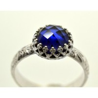 Blue Sapphire Ring, Sapphire Engagement Ring, Handmade Sterling Silver Wedding Ring