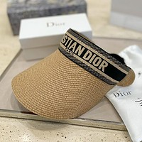 DIOR CD Hot Selling Straw Hat Sun Hat with Woven Embroidery Letters Hat cap