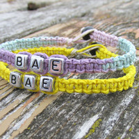 Pastel and Yellow Couples or Friendship Bracelets, BAE, Before Anyone Else, Hemp Jewelry