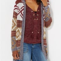 Tan Hooded Aztec Cardigan