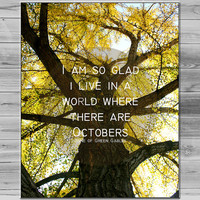 Fall Home Decor, Inspirational quote Wall art, Autumn Photo Tree Photography, leaf Photograph, Typography Print, 8x10 Photo yellow