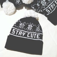 Stay Cute Snowflake Pom Beanie