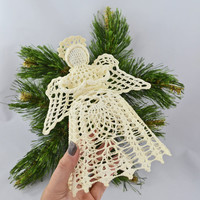 Vintage Hand Crocheted Stiffened Angel Tree Topper