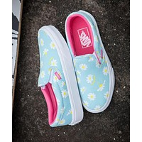 Vans Popular Women Slip-On Breathable Daisy Floral Classic Canvas Flat Skateboarding Shoes Sneakers Blue I12356-16