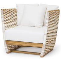 SAN MARINO MODERN CLASSIC SALT ROPE WRAPPED OUTDOOR LOUNGE CHAIR