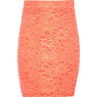 River Island Girls coral lace tube skirt