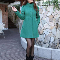 Long Sleeve Turtle Neck Buttoned Mini Wool Coat Dress