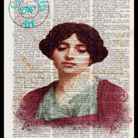 Stecicrate Lady 1914 Pencil Drawing Beautifully Upcycled Vintage Dictionary Page Book Art Print