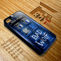 Apple iPhone and iPod case Tardis doctor who Bad wolf graffiti typograph iphone 4 4s, iphone 5 5s 5c, iPod touch 4, iPod 5 case cover