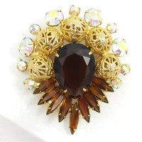 Juliana D&E Verified Topaz Rhinestone Brooch, Gold Filigree Balls, Amber Pin, Aurora Borealis Chaton Crystal AB, Brown Navette, High End
