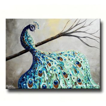 GICLEE PRINT Art Abstract Peacock Painting Modern Canvas Prints Blue Green Grey Brown Gold Bird