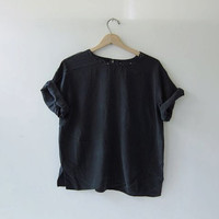 90s silk shirt. cropped silk blouse. oversized black silk shirt. minimalist top
