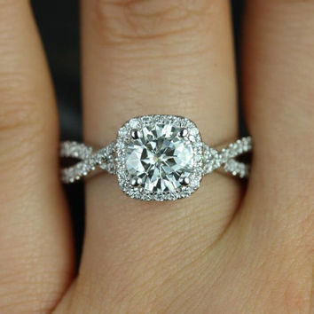 Josephine 14kt White Gold Round FB Moissanite and Diamonds Twisted Cushion Halo Engagement Ring (Other metals and stone options available)
