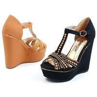 """Womens 1.75"""" Platform 5"""" Wedge Heels Open Toe Shoes Gold Studs Ankle Buckle New"""