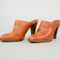 70's Leather Wooden Clogs