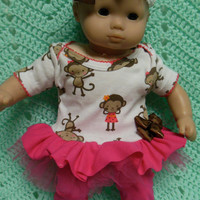 """AMERICAN GIRL Bitty Baby Clothes """"Barrel of Monkeys"""" (15 inch) doll outfit top dress, diaper cover, booties/ socks, and headband"""