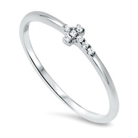 Sterling Silver Ladies Christian Cross Midi Ring or Knuckle Ring size 2-10