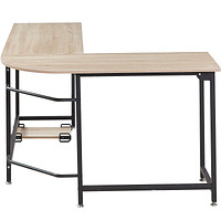 Elephance L-shaped Corner Computer Desk Workstation Wood andMetal Large Size
