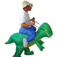 Hot sell unisex fashion inflatable dinosaur costume animal costume halloween christmas costume for men and women (Color: Green) = 1947011652