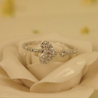 High Quality Fashion Alloy Costume Jewellery Ring For Women Rhinestone Heart Open Ring Silver