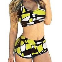 Womens Floral Bikini Sports Swimwear Bathing Swimsuit 2 Piece